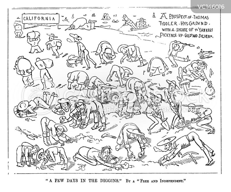 Gold Rush Vintage and Historic Cartoons