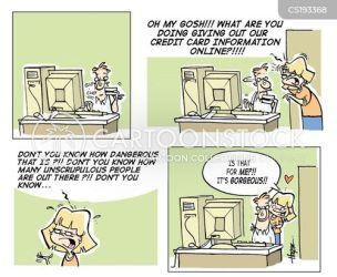 shopping fraud card cartoon cartoons funny internet banking comics cartoonstock dislike