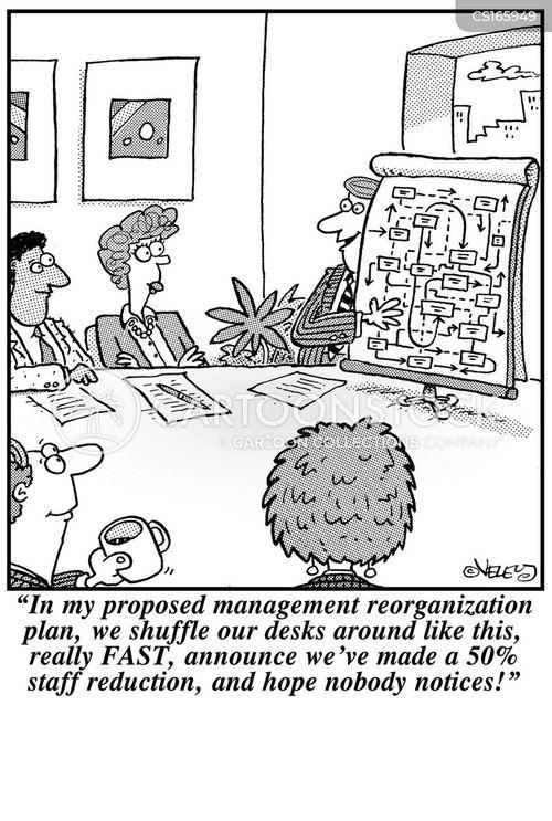 Cartoons und Karikaturen mit Stellenabbau