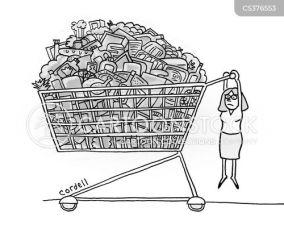 shopping cart cartoon funny consumer cartoons consume cartoonstock illustration dislike