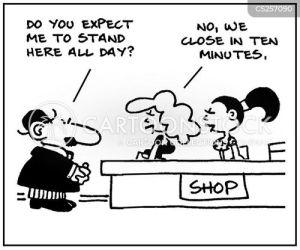 assistant shopping cartoon funny closing cartoons cartoonstock assistants times close illustration illustrations dislike retail comics
