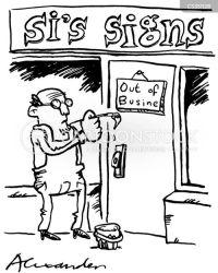 down close cartoon closed sign bankrupt cartoons funny signs cartoonstock comics retail dislike
