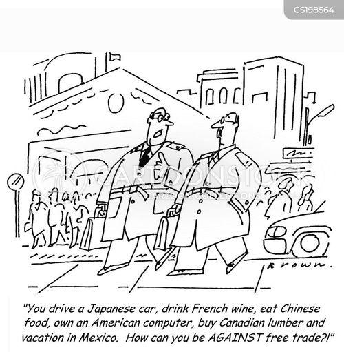 Cartoons und Karikaturen mit Aussenhandel