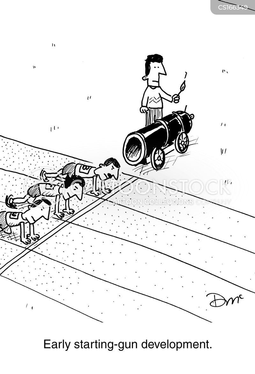Cartoons und Karikaturen mit Rennen