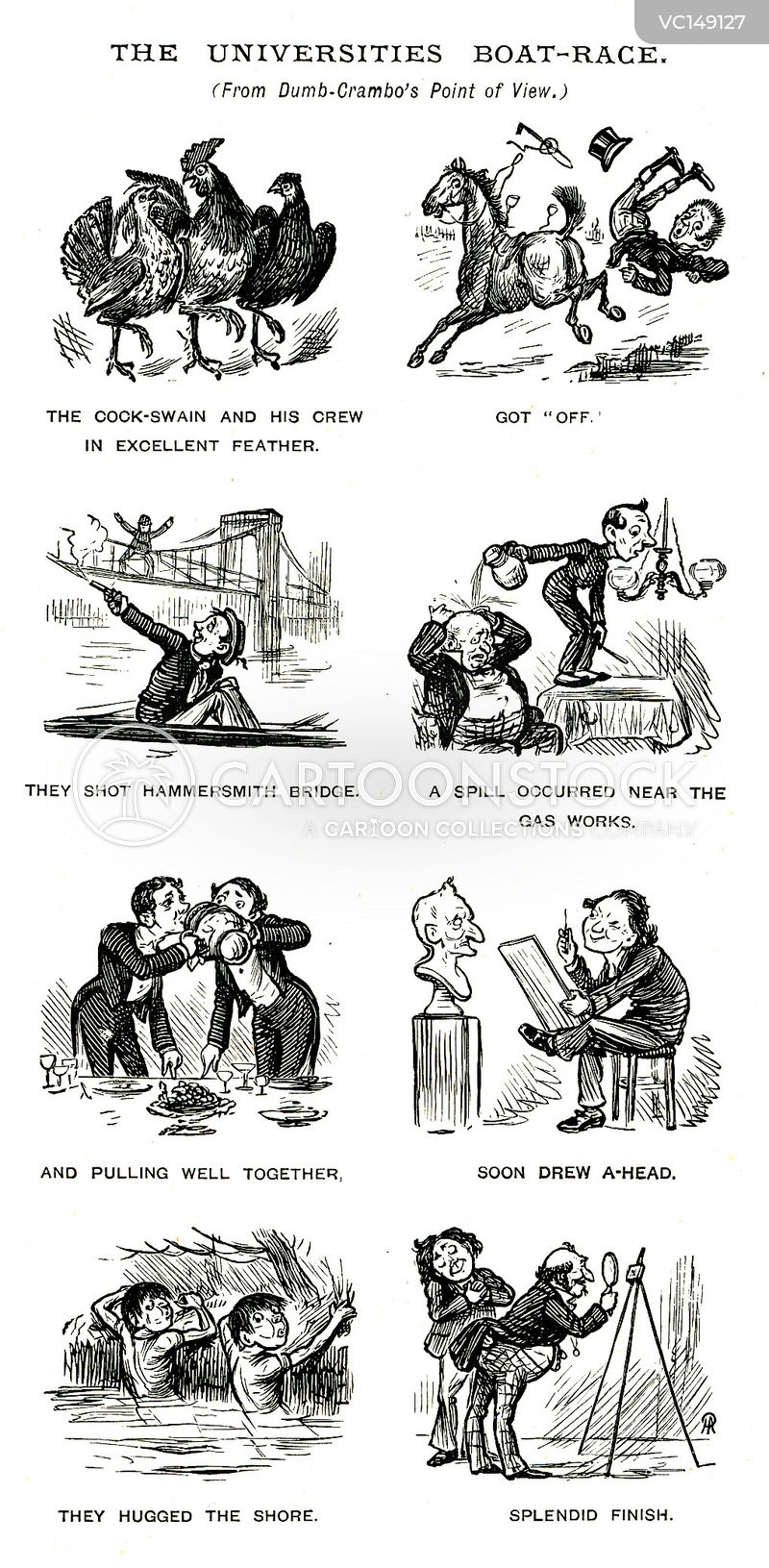 Rowing Vintage and Historic Cartoons
