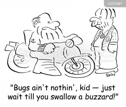 Cartoons und Karikaturen mit Motorradfahrer