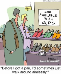shoe shopping sat cartoon navs funny cartoons gps cartoonstock comics navigation dislike