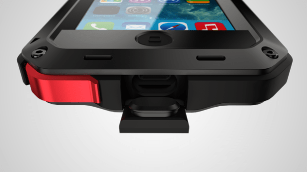 Lunatik Taktik Extreme has a sweet headphone jack cover made of aluminum and an easily articulated Lightning port cover (unlike the LifeProof which is a widow maker for thumb nails.)