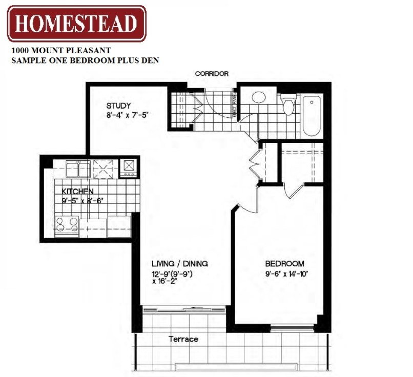 One bedroom plus den toronto for Apartment floor plans 1 bedroom with den