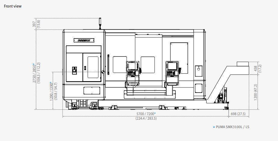 Doosan Puma SMX3100S 7-Axis CNC Lathe, Fanuc 31i, 12″/10