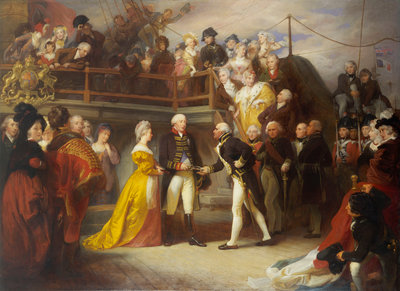 Visit of George III to Howe's Flagship, the 'Queen Charlotte', 26 June 1794 by Henry Perronet Briggs - print