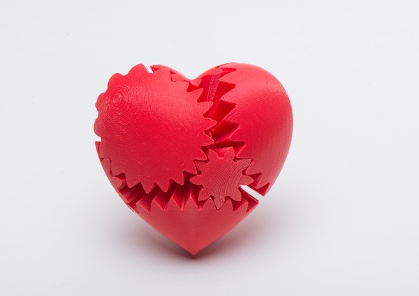 Steampunk Rotating Gear Heart 3D Printed Best Gift For