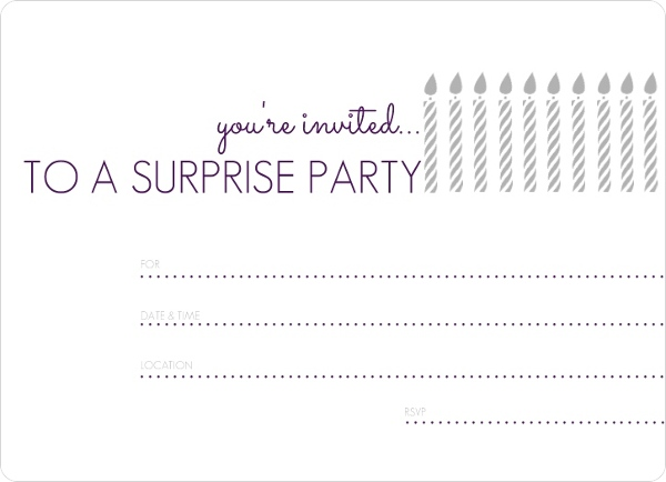 White Candles Surprise Fill In The Blank Birthday Invitation