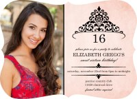 Sweet 16 Birthday Invitation - Pink and Black Princess ...