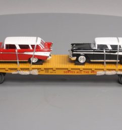 mth 30 76639 o union pacific flatcar with 2 57 chevy nomad ln  [ 1600 x 762 Pixel ]