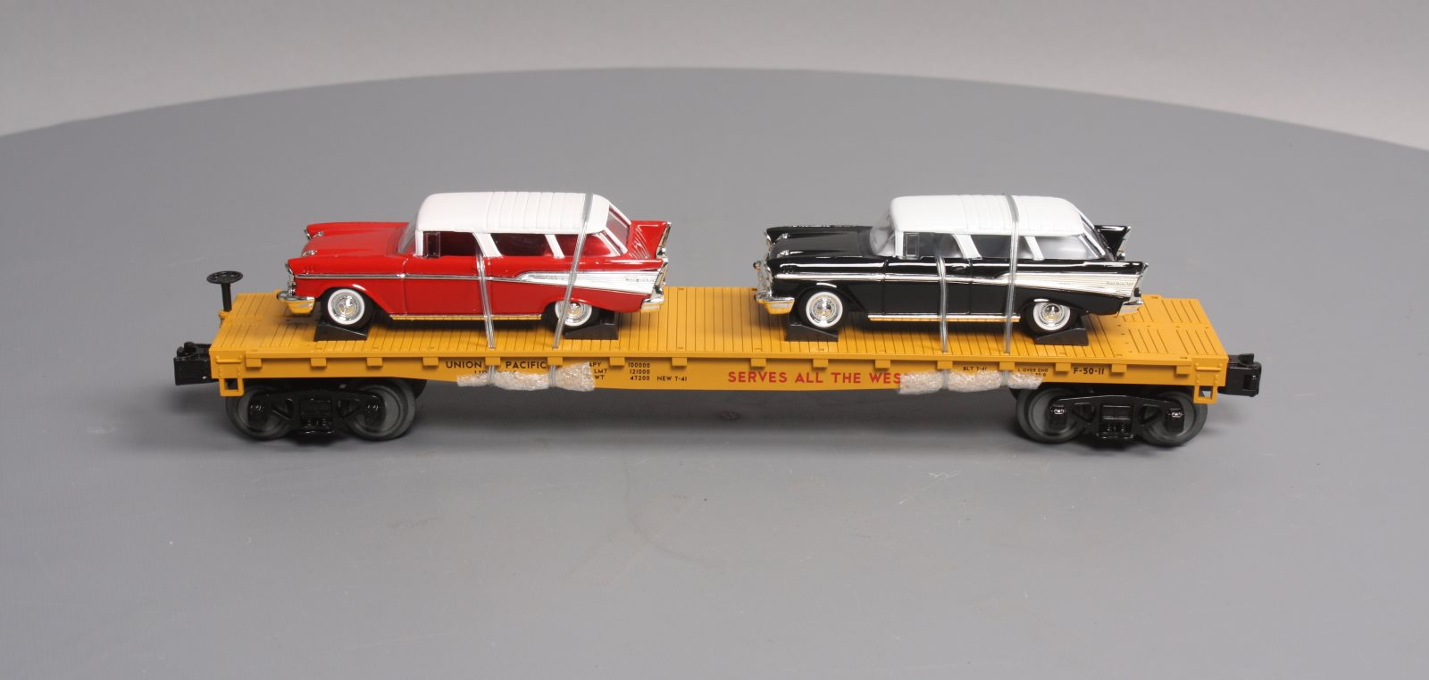 hight resolution of mth 30 76639 o union pacific flatcar with 2 57 chevy nomad ln