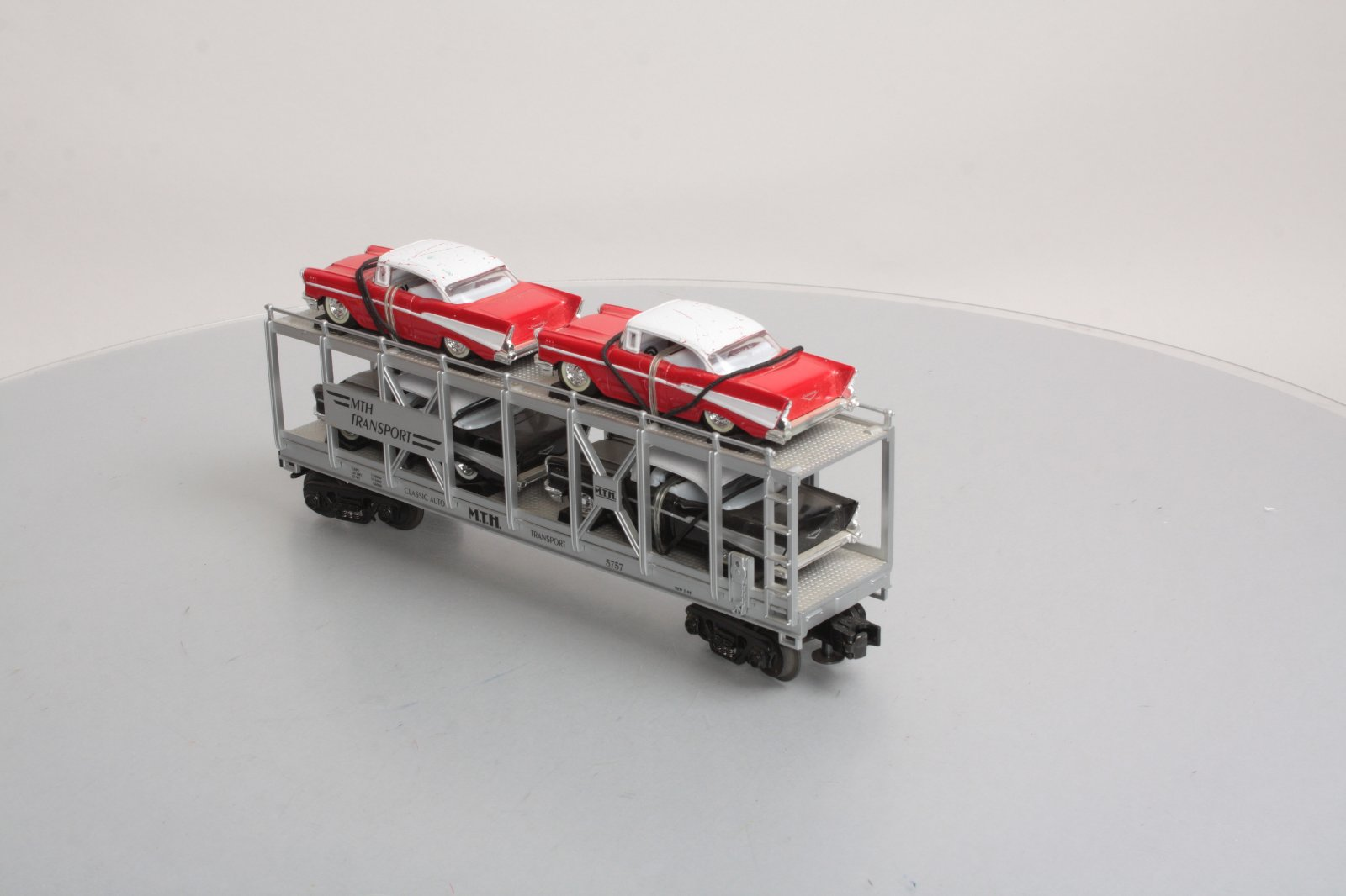 hight resolution of mth 30 7656 mth auto carrier w 4 die cast 1957 chevy automobiles
