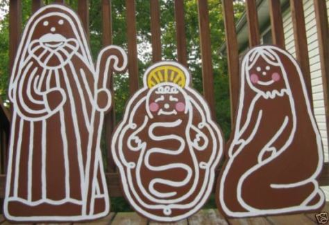 gingerbread yard art nativity