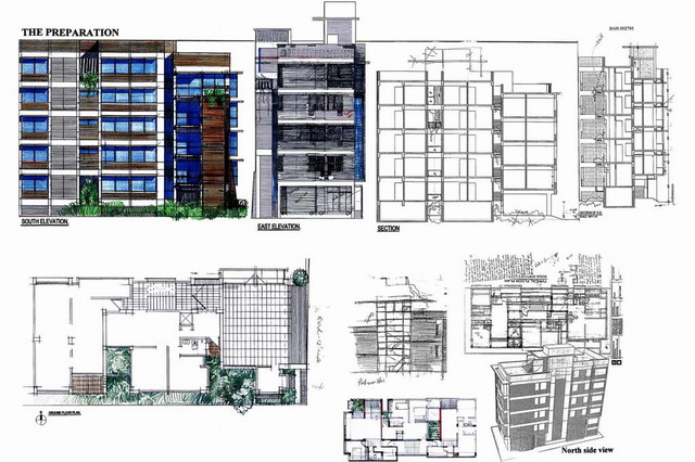 Kazedewan Apartment Building  Nine drawings elevation section and perspective  Archnet