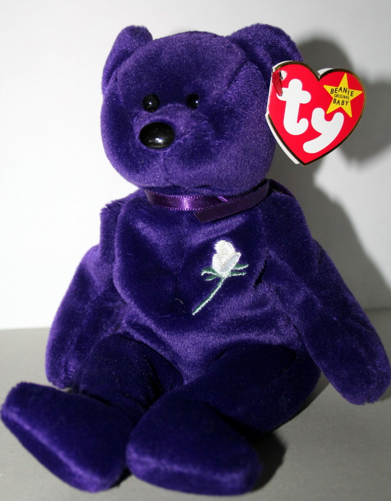 Ty Warner used the popularity of Beanie Babies to help commemorate the  Princess by releasing a beautiful purple bear with ... d905b739ee02