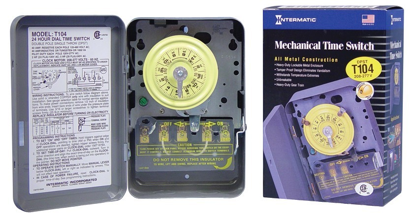 Intermatic T104 Heavy Duty Timer Dpst For 240v Load