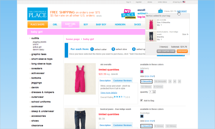 An Add Coupon Code button in the shopping cart preview on ChildrensPlace.com