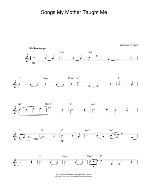 Songs My Mother Taught Me sheet music by Antonin Dvorak Melody Line  Chords  14170
