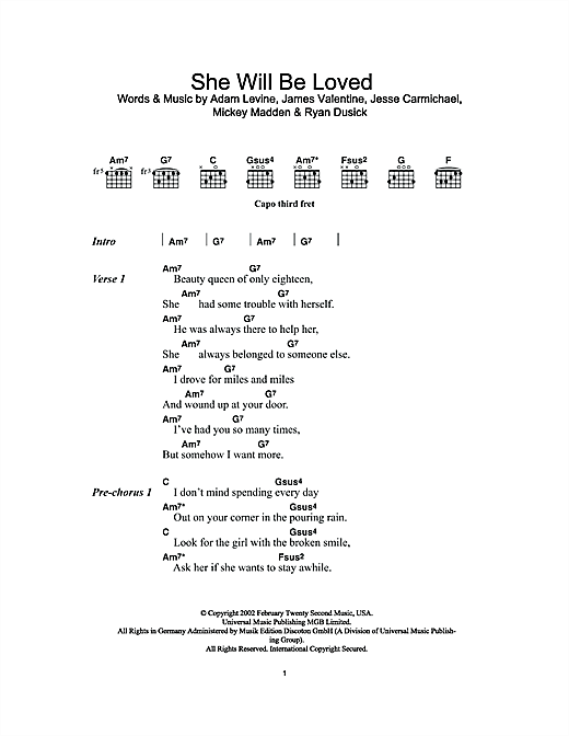 She Will Be Loved Sheet Music By Maroon 5 Lyrics Amp Chords