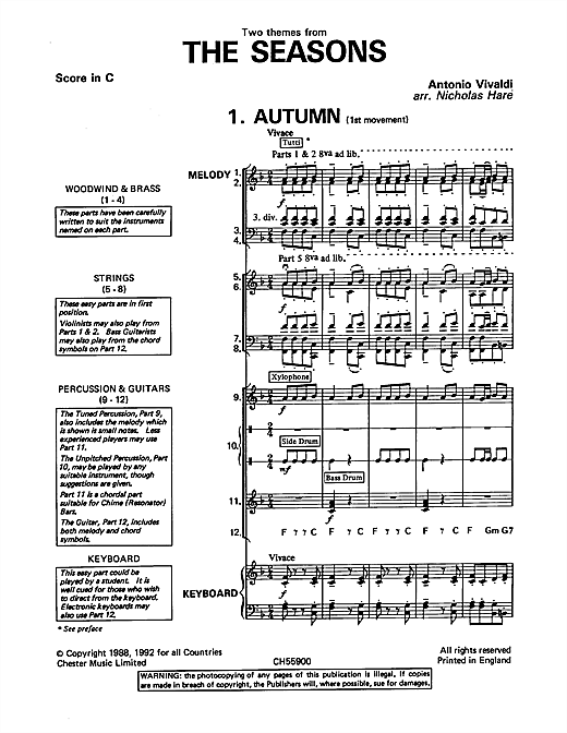 Autumn and Winter (from The Four Seasons) sheet music by