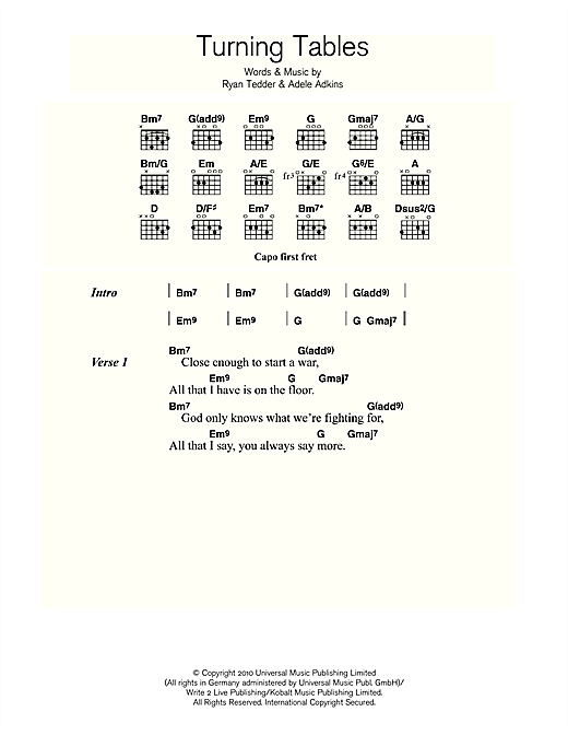 Turning Tables Sheet Music By Adele (lyrics & Chords 113992