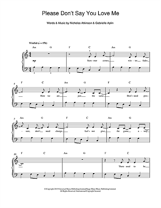 You Don't Have To Say You Love Me : don't, Please, Don't, (Beginner, Piano), Print, Sheet, Music