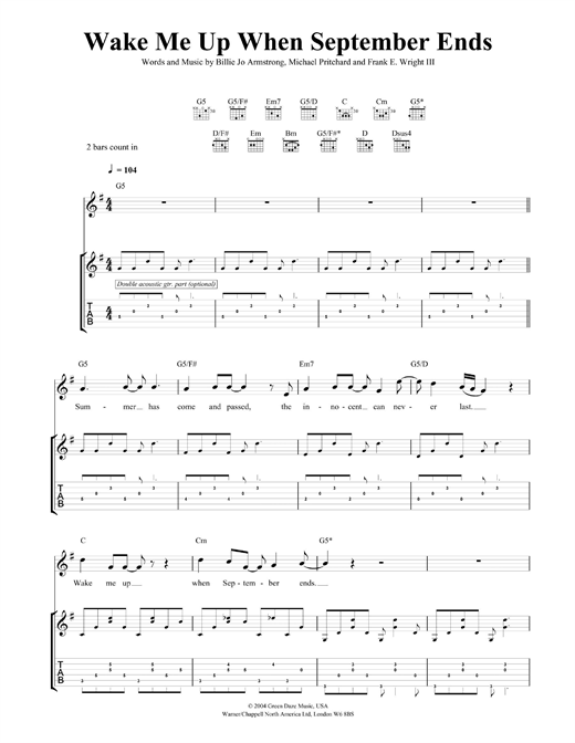Colorful Wake Me Up When September Ends Guitar Chords Pictures ...