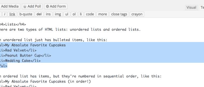 HTML Cupcake List