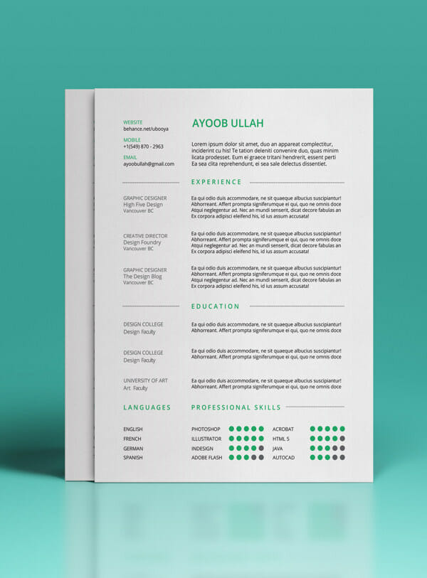adobe photoshop resume template