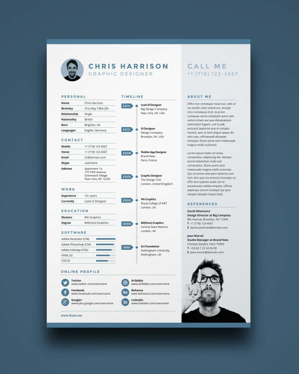 adobe indesign infographic resume template
