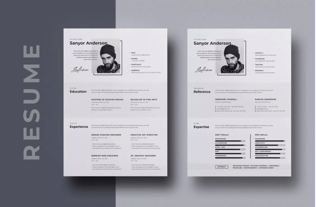 Free Creative Resume Template Downloads for 2019
