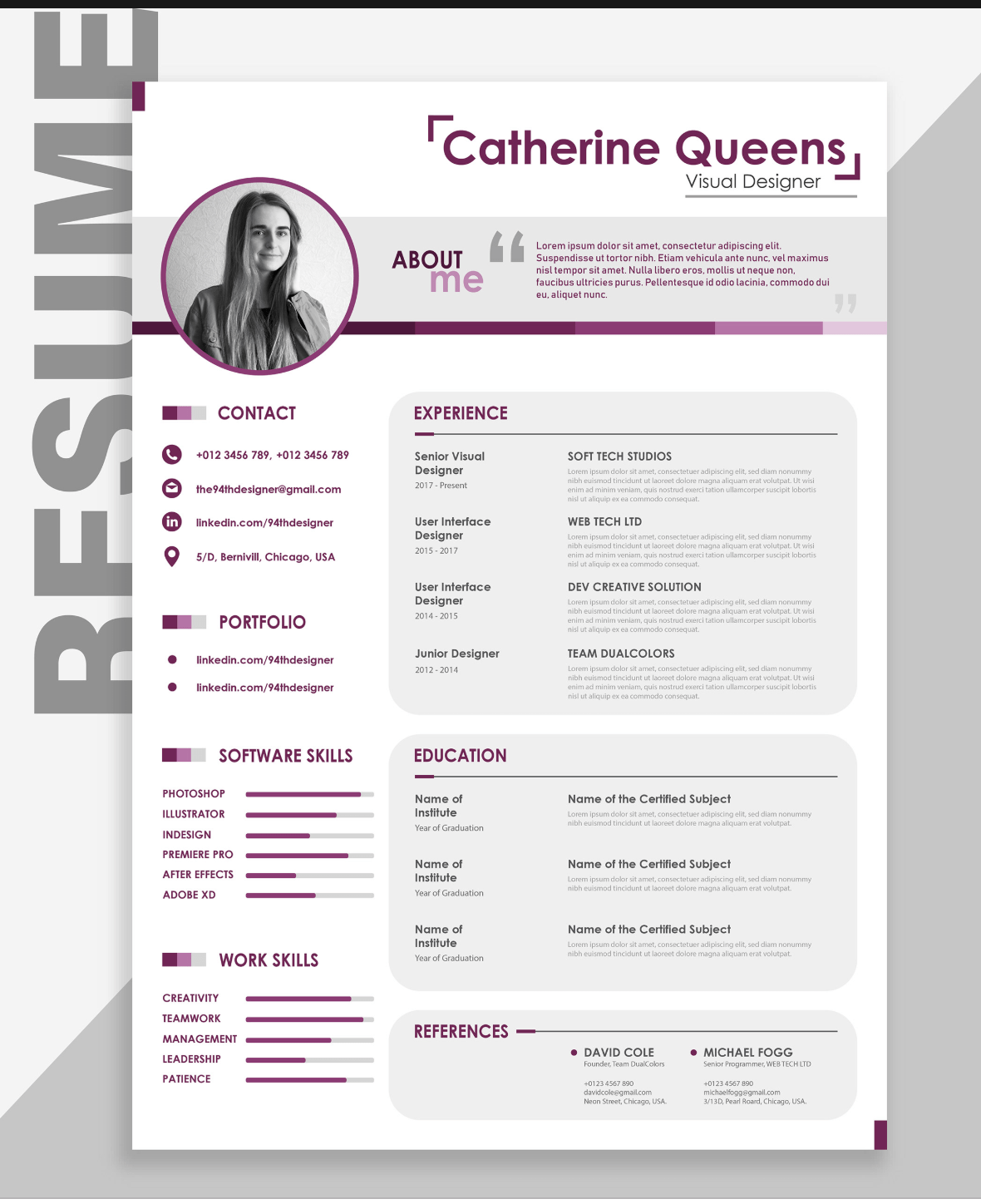 Free Creative Resume Template Downloads For