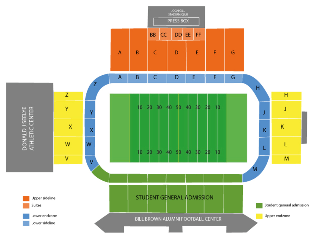 Waldo stadium seating chart also ohio bobcats at western michigan broncos football rh teamonetickets
