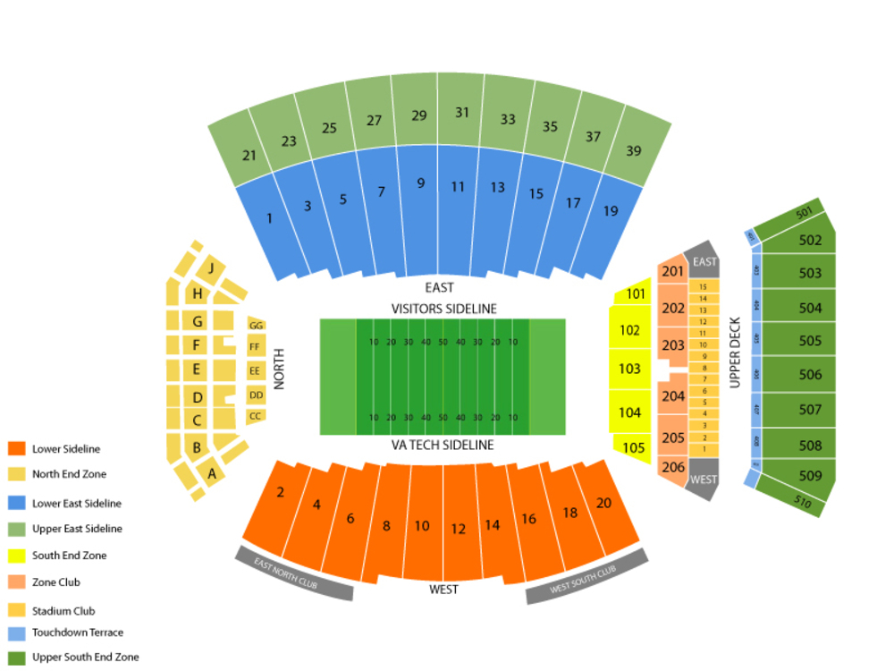 Lane stadium seating chart also notre dame fighting irish at virginia tech hokies football rh teamonetickets