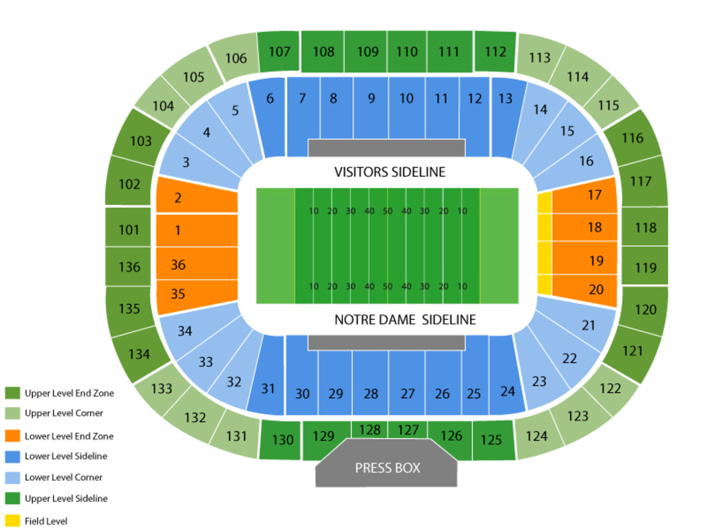 Notre dame stadium seating chart also and tickets rh teamonetickets