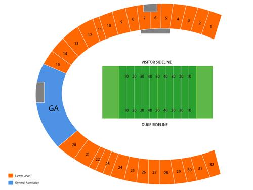 Football Chart Seating Wake Stadium Forest