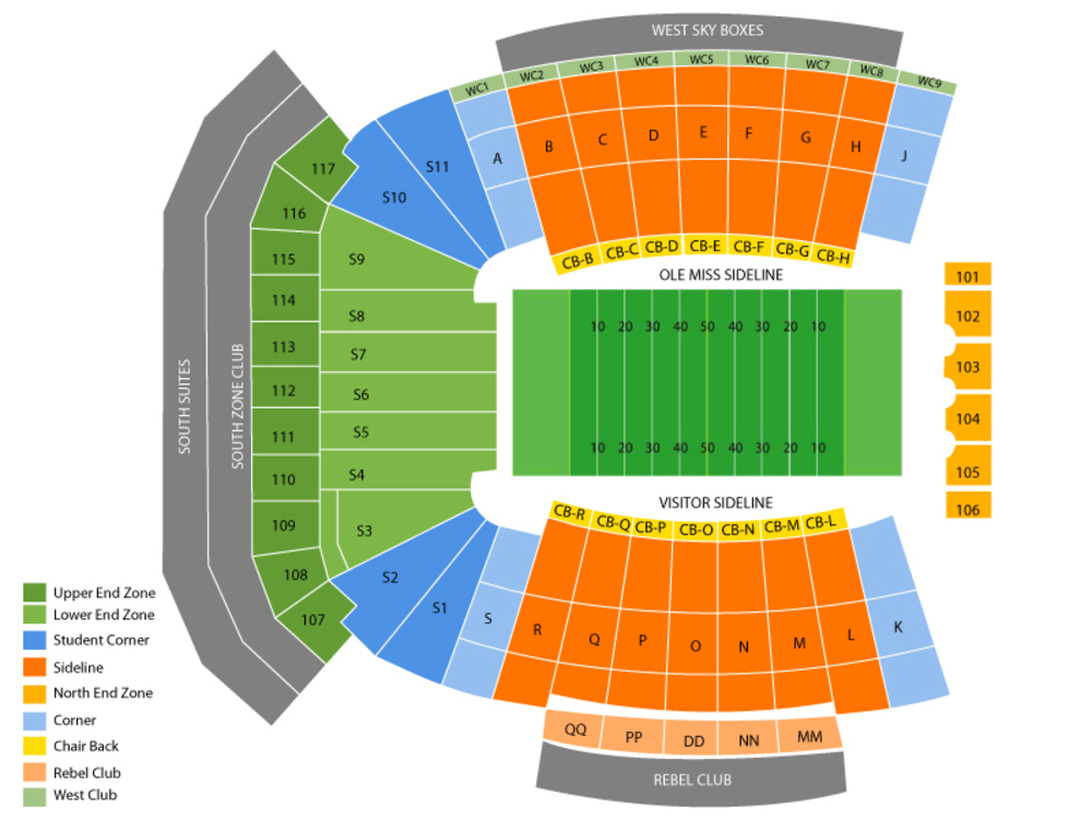Vaught hemingway stadium seating chart also south carolina gamecocks at ole miss rebels football rh teamonetickets