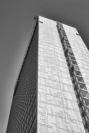 Cityscape | Black and white Manchester canvas wall art | for sale | Skyscraper against a clear sky