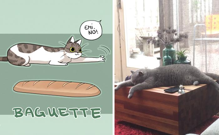 Gato baguette - ilustraciones de mikiko