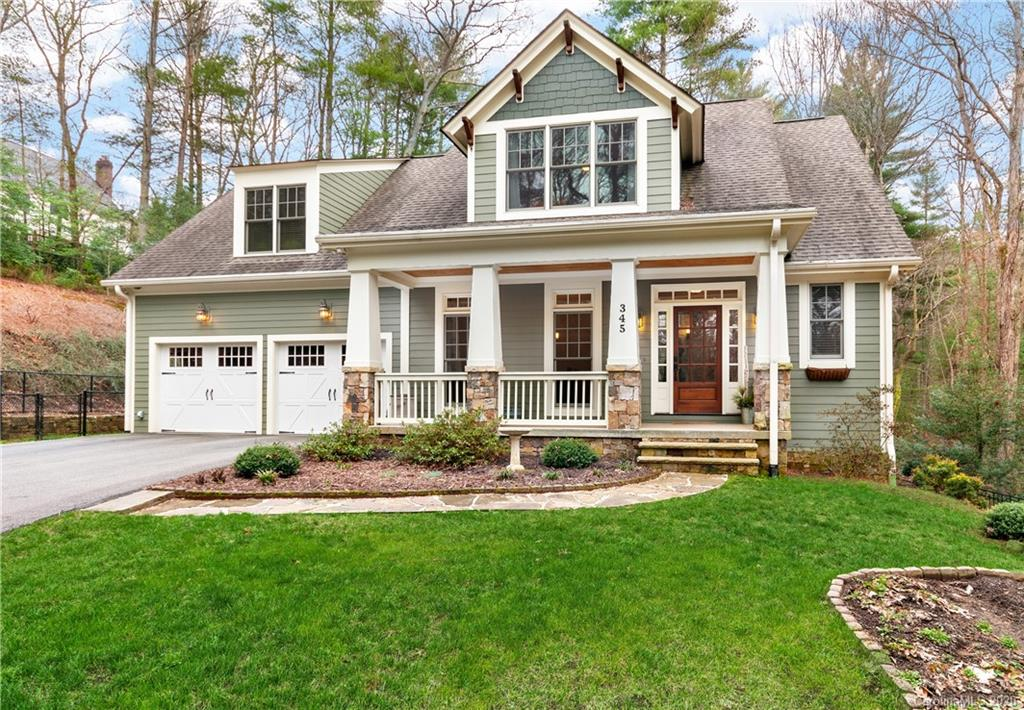 The warmth of a home emanates from within. This inviting home offers an open floor plan with beautiful wood floors and large windows to frame this tranquil setting. Gourmet kitchen opens to the great room and breakfast area overlooking the beautiful back yard. A few steps to the covered rear porch allowing one to live harmoniously with nature. A main level master wing, with spa bath and walk in closet. Upstairs you will find the additional bedrooms, Jack and Jill bathroom, and bonus room with mini bar for guests. On the lower walkout level, a large den with kitchenette, a full bath and study. Inspiring workout room, lots of storage, and doors to the outdoor patio with fire pit. This unique setting is seldom found within the guarded, gated Ramble Biltmore Forest as well as your own gate for additional privacy. Multiple fence areas for your pets, generator for the home, and additional parking in the drive. For those who desire a little more land or privacy, in an amazing location!