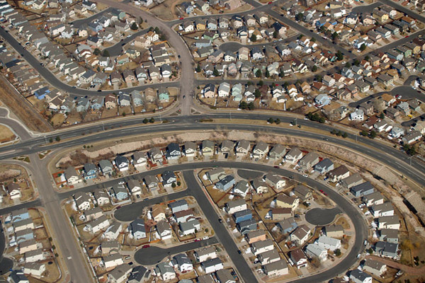 Suburb development in Colorado Springs, Colorado U.S. The population of the U.S. is currently growing at around 0.7 percent annually. Photo by: David Shankbone.