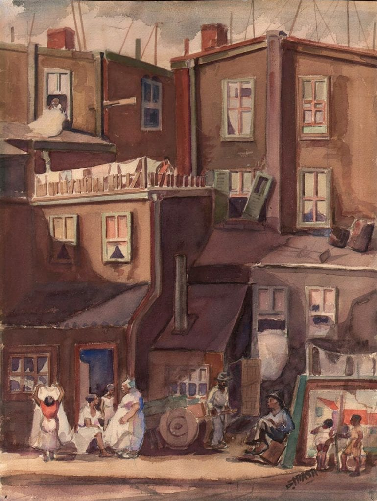 Dox Thrash (American, 1893 – 1965), City Plevins, ca. 1939, watercolor, 15 3/8 x 11 11/16 in. Photo courtesy of Dolan Maxwell.