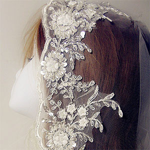 Silver Embroidered Lace Trim