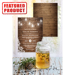 Mason Jar, Wood, Lights, and Lace Wedding Invitations