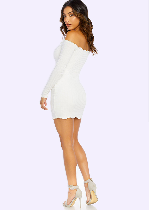 Short and tight party dress for a night on the town. Or as a reception or rehearsal dress for the bride.